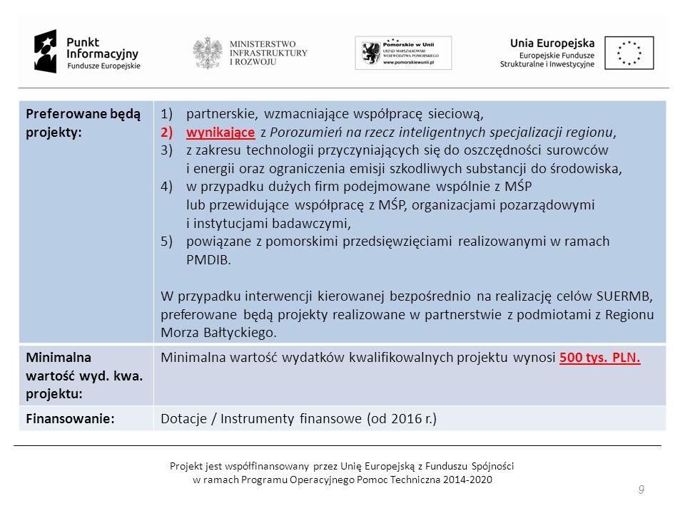 Projekt jest współfinansowany przez Unię Europejską z Funduszu Spójności w ramach Programu Operacyjnego Pomoc Techniczna 2014-2020 Preferowane będą projekty: 1)partnerskie, wzmacniające współpracę sieciową, 2)wynikające z Porozumień na rzecz inteligentnych specjalizacji regionu, 3)z zakresu technologii przyczyniających się do oszczędności surowców i energii oraz ograniczenia emisji szkodliwych substancji do środowiska, 4)w przypadku dużych firm podejmowane wspólnie z MŚP lub przewidujące współpracę z MŚP, organizacjami pozarządowymi i instytucjami badawczymi, 5)powiązane z pomorskimi przedsięwzięciami realizowanymi w ramach PMDIB.