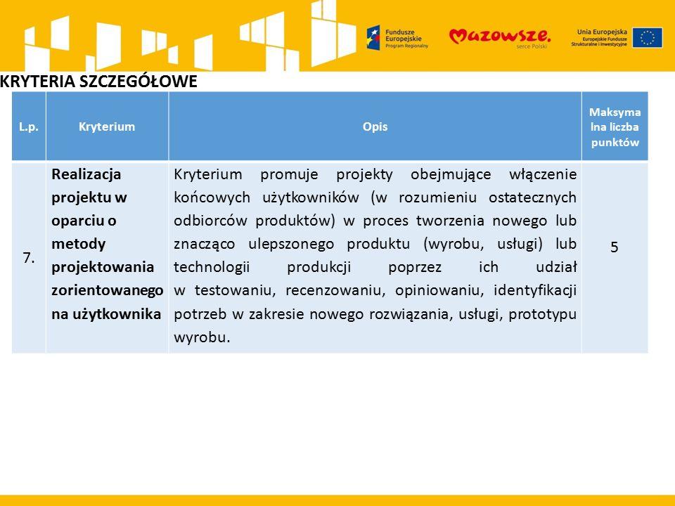 L.p.KryteriumOpis Maksyma lna liczba punktów 7. Realizacja projektu w oparciu o metody projektowania zorientowanego na użytkownika Kryterium promuje p