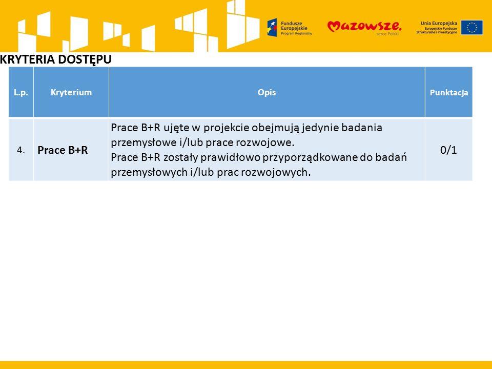 KRYTERIA DOSTĘPU L.p.KryteriumOpis Punktacja 4. Prace B+R Prace B+R ujęte w projekcie obejmują jedynie badania przemysłowe i/lub prace rozwojowe. Prac