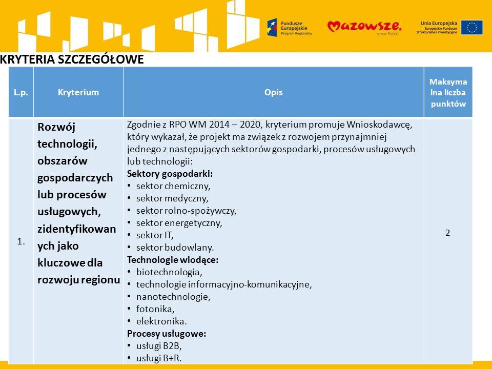 L.p.KryteriumOpis Maksyma lna liczba punktów 1. Rozwój technologii, obszarów gospodarczych lub procesów usługowych, zidentyfikowan ych jako kluczowe d
