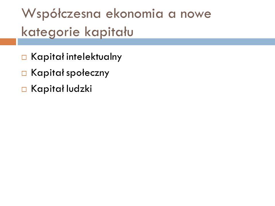 Współczesna ekonomia a nowe kategorie kapitału  Kapitał intelektualny  Kapitał społeczny  Kapitał ludzki