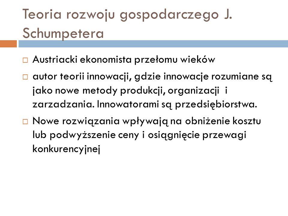 Teoria rozwoju gospodarczego J. Schumpetera  Austriacki ekonomista przełomu wieków  autor teorii innowacji, gdzie innowacje rozumiane są jako nowe m