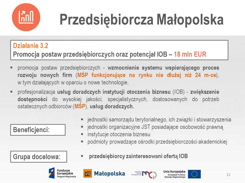 Działanie 3.2 Promocja postaw przedsiębiorczych oraz potencjał IOB – 18 mln EUR  promocja postaw przedsiębiorczych - wzmocnienie systemu wspierającego proces rozwoju nowych firm ( MŚP funkcjonujące na rynku nie dłużej niż 24 m-ce ), w tym działających w oparciu o nowe technologie,  profesjonalizacja usług doradczych instytucji otoczenia biznesu (IOB) - zwiększenie dostępności do wysokiej jakości, specjalistycznych, dostosowanych do potrzeb ostatecznych odbiorców ( MŚP ), usług doradczych.