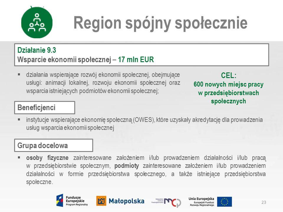 Działanie 9.3 Wsparcie ekonomii społecznej – 17 mln EUR Region spójny społecznie  działania wspierające rozwój ekonomii społecznej, obejmujące usługi: animacji lokalnej, rozwoju ekonomii społecznej oraz wsparcia istniejących podmiotów ekonomii społecznej;  osoby fizyczne zainteresowane założeniem i/lub prowadzeniem działalności i/lub pracą w przedsiębiorstwie społecznym, podmioty zainteresowane założeniem i/lub prowadzeniem działalności w formie przedsiębiorstwa społecznego, a także istniejące przedsiębiorstwa społeczne.