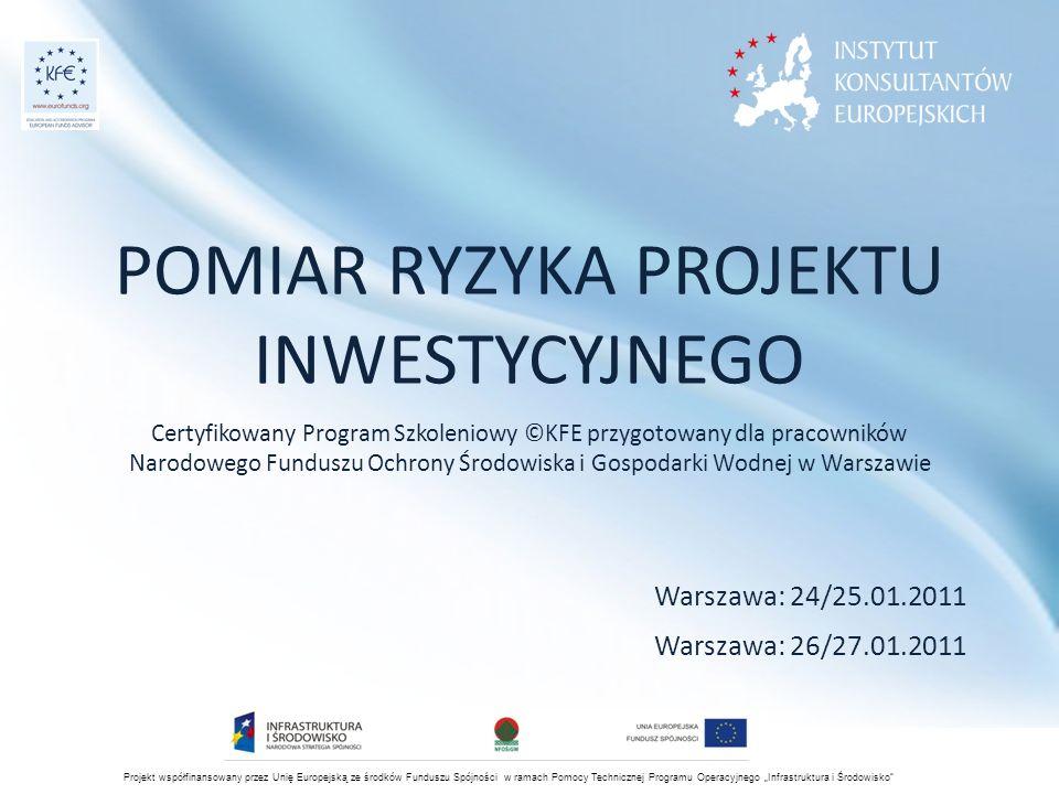 """Projekt współfinansowany przez Unię Europejską ze środków Funduszu Spójności w ramach Pomocy Technicznej Programu Operacyjnego """"Infrastruktura i Środowisko Źródła ryzyka wpływające na CE (koszty wydatkowe): -> wysokość cen (P) po których można sprzedawać produkty i ilość produkcji (Q) jaka jest sprzedawana -> zmienność cen (P) i ilości (Q) -> wysokość cen materiałów, energii i surowców… -> zmienność składników wydatkowych kosztów stałych (FC) i zmiennych (VC) Pomiar na podstawie danych historycznych podobny jak dla CR CE=FC+VC, FC=niezależne od wielkości produkcji (np.: FC=100), VC = zależne od wielkości produkcji lub wielkości sprzedaży (np."""