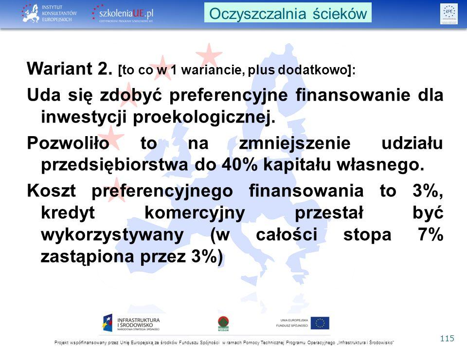 """Projekt współfinansowany przez Unię Europejską ze środków Funduszu Spójności w ramach Pomocy Technicznej Programu Operacyjnego """"Infrastruktura i Środowisko 115 Wariant 2."""