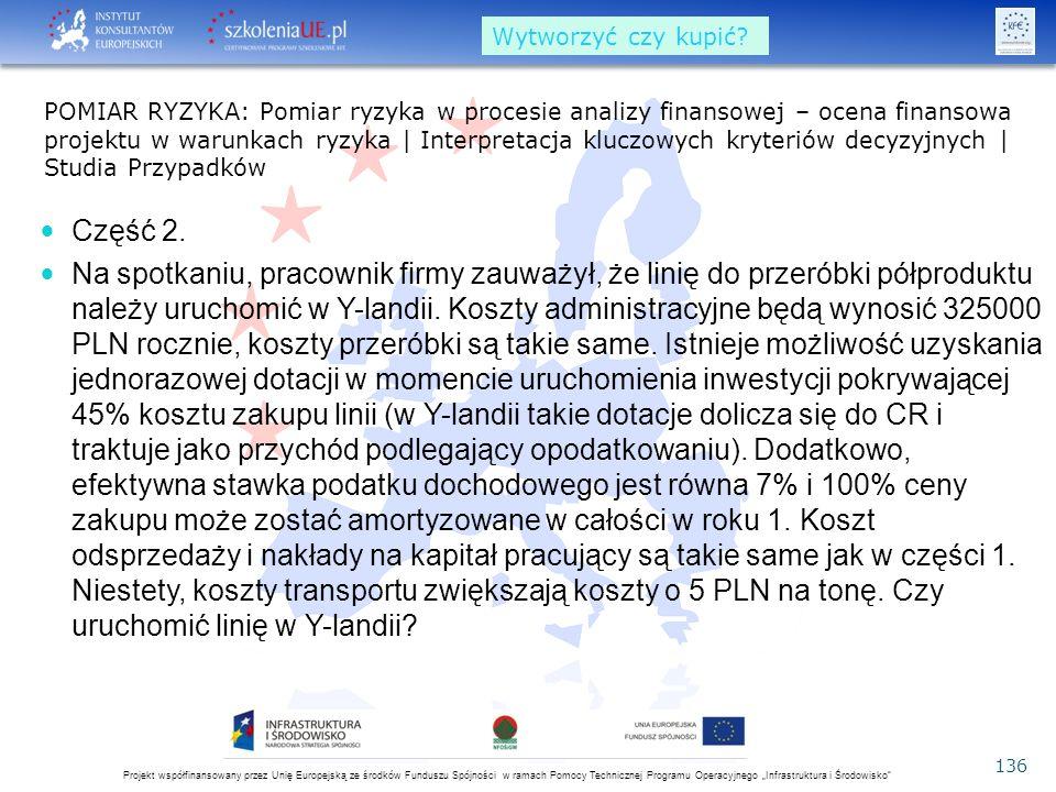 """Projekt współfinansowany przez Unię Europejską ze środków Funduszu Spójności w ramach Pomocy Technicznej Programu Operacyjnego """"Infrastruktura i Środowisko 136 Część 2."""