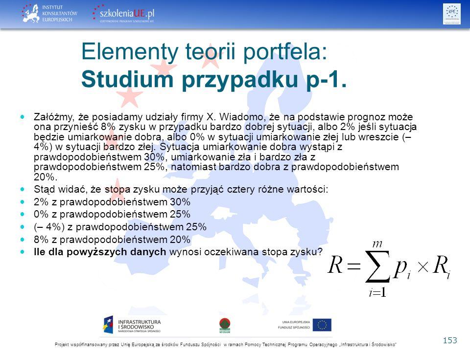 """Projekt współfinansowany przez Unię Europejską ze środków Funduszu Spójności w ramach Pomocy Technicznej Programu Operacyjnego """"Infrastruktura i Środowisko 153 Elementy teorii portfela: Studium przypadku p-1."""