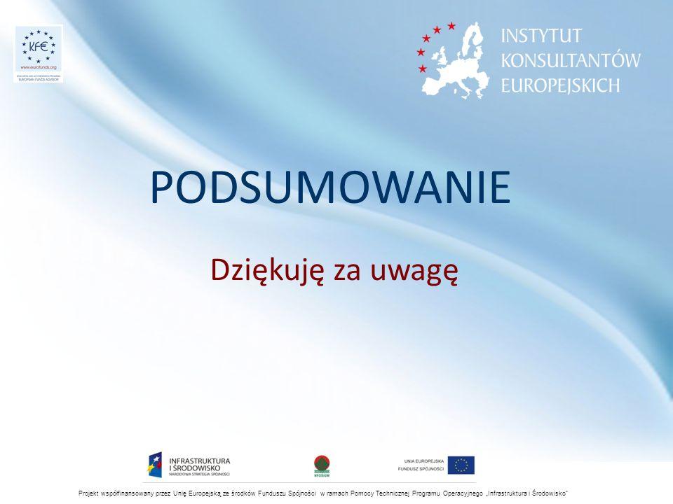 """PODSUMOWANIE Dziękuję za uwagę Projekt współfinansowany przez Unię Europejską ze środków Funduszu Spójności w ramach Pomocy Technicznej Programu Operacyjnego """"Infrastruktura i Środowisko"""