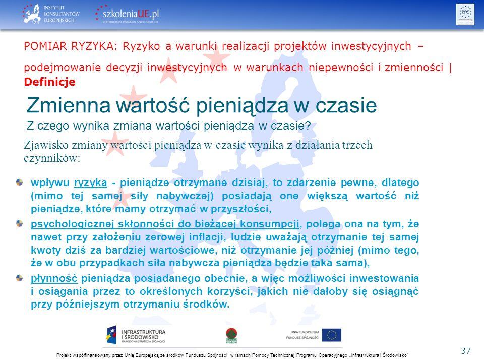 """Projekt współfinansowany przez Unię Europejską ze środków Funduszu Spójności w ramach Pomocy Technicznej Programu Operacyjnego """"Infrastruktura i Środowisko 37 Zmienna wartość pieniądza w czasie Z czego wynika zmiana wartości pieniądza w czasie."""
