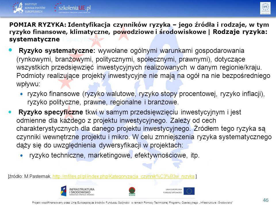 """Projekt współfinansowany przez Unię Europejską ze środków Funduszu Spójności w ramach Pomocy Technicznej Programu Operacyjnego """"Infrastruktura i Środowisko 46 Ryzyko systematyczne: wywołane ogólnymi warunkami gospodarowania (rynkowymi, branżowymi, politycznymi, społecznymi, prawnymi), dotyczące wszystkich przedsięwzięć inwestycyjnych realizowanych w danym regionie/kraju."""