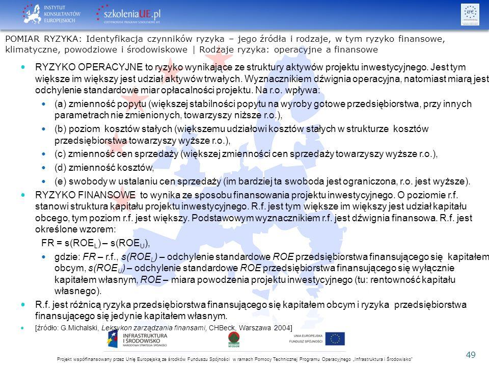 """Projekt współfinansowany przez Unię Europejską ze środków Funduszu Spójności w ramach Pomocy Technicznej Programu Operacyjnego """"Infrastruktura i Środowisko 49 RYZYKO OPERACYJNE to ryzyko wynikające ze struktury aktywów projektu inwestycyjnego."""