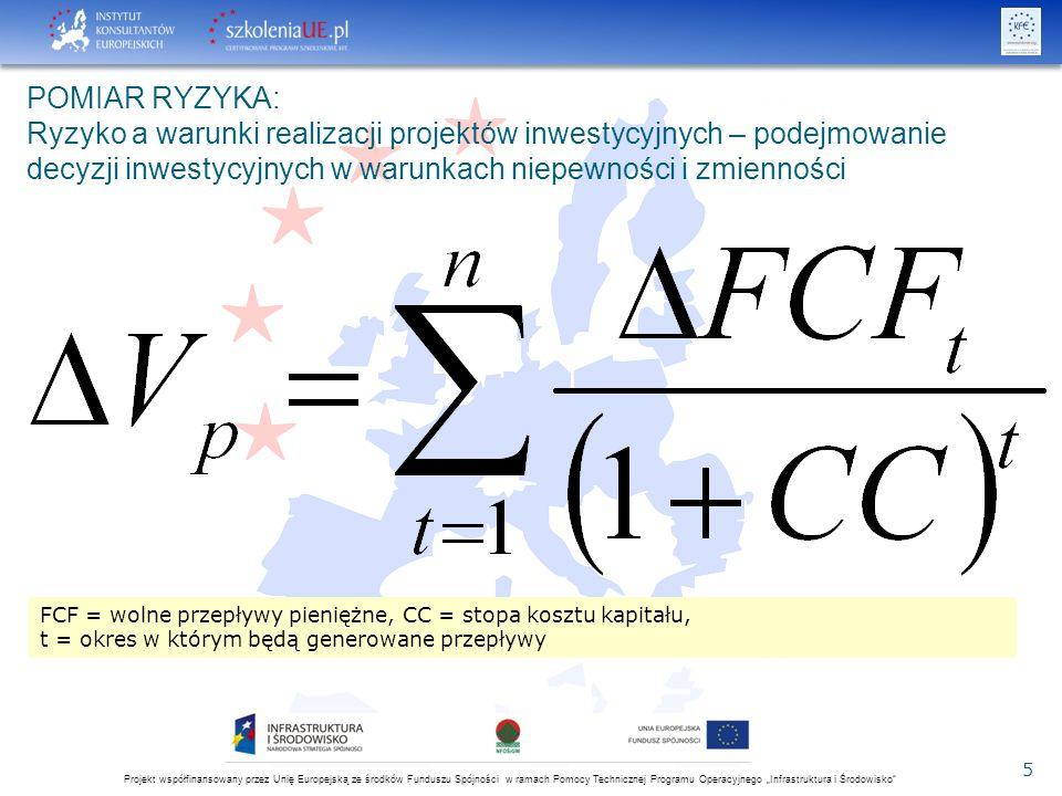 """Projekt współfinansowany przez Unię Europejską ze środków Funduszu Spójności w ramach Pomocy Technicznej Programu Operacyjnego """"Infrastruktura i Środowisko 5 POMIAR RYZYKA: Ryzyko a warunki realizacji projektów inwestycyjnych – podejmowanie decyzji inwestycyjnych w warunkach niepewności i zmienności FCF = wolne przepływy pieniężne, CC = stopa kosztu kapitału, t = okres w którym będą generowane przepływy"""