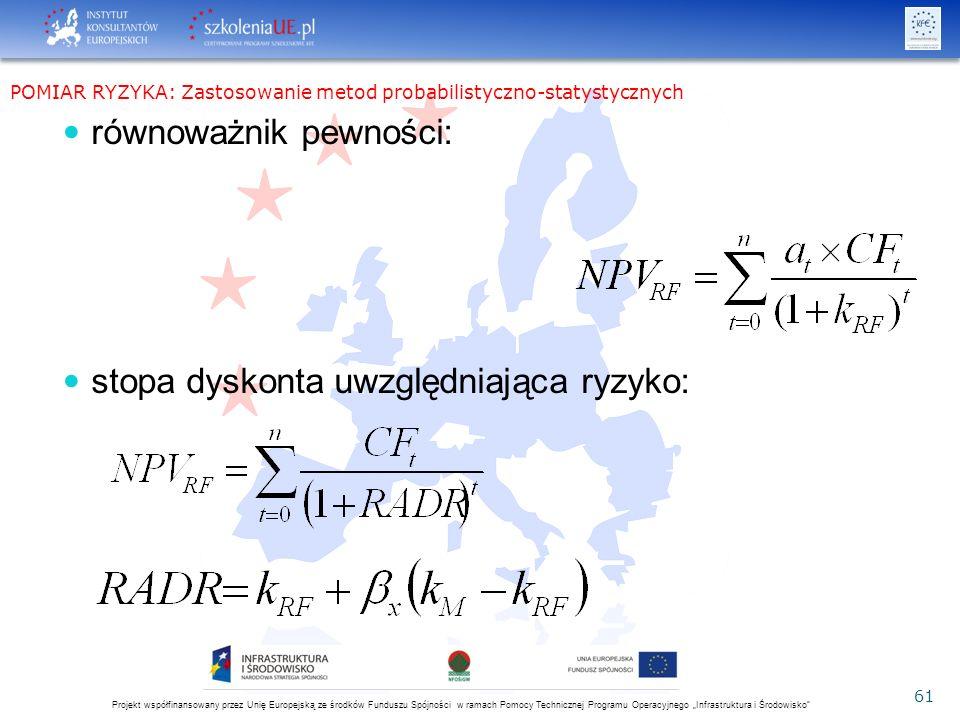 """Projekt współfinansowany przez Unię Europejską ze środków Funduszu Spójności w ramach Pomocy Technicznej Programu Operacyjnego """"Infrastruktura i Środowisko 61 równoważnik pewności: stopa dyskonta uwzględniająca ryzyko: POMIAR RYZYKA: Zastosowanie metod probabilistyczno-statystycznych"""