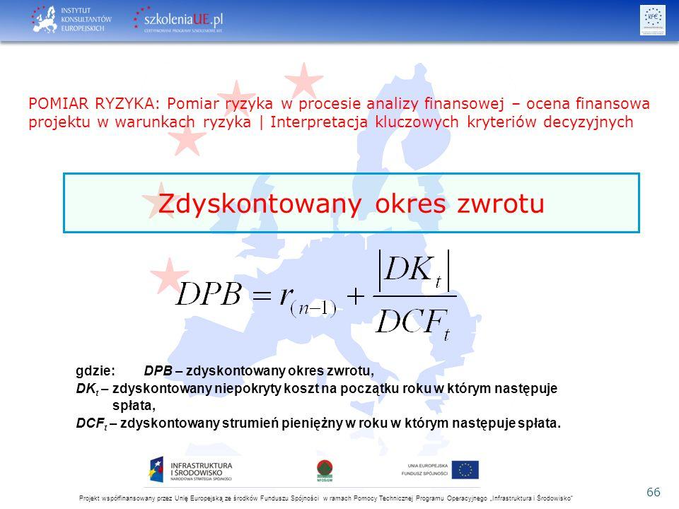 """Projekt współfinansowany przez Unię Europejską ze środków Funduszu Spójności w ramach Pomocy Technicznej Programu Operacyjnego """"Infrastruktura i Środowisko 66 gdzie: DPB – zdyskontowany okres zwrotu, DK t – zdyskontowany niepokryty koszt na początku roku w którym następuje spłata, DCF t – zdyskontowany strumień pieniężny w roku w którym następuje spłata."""
