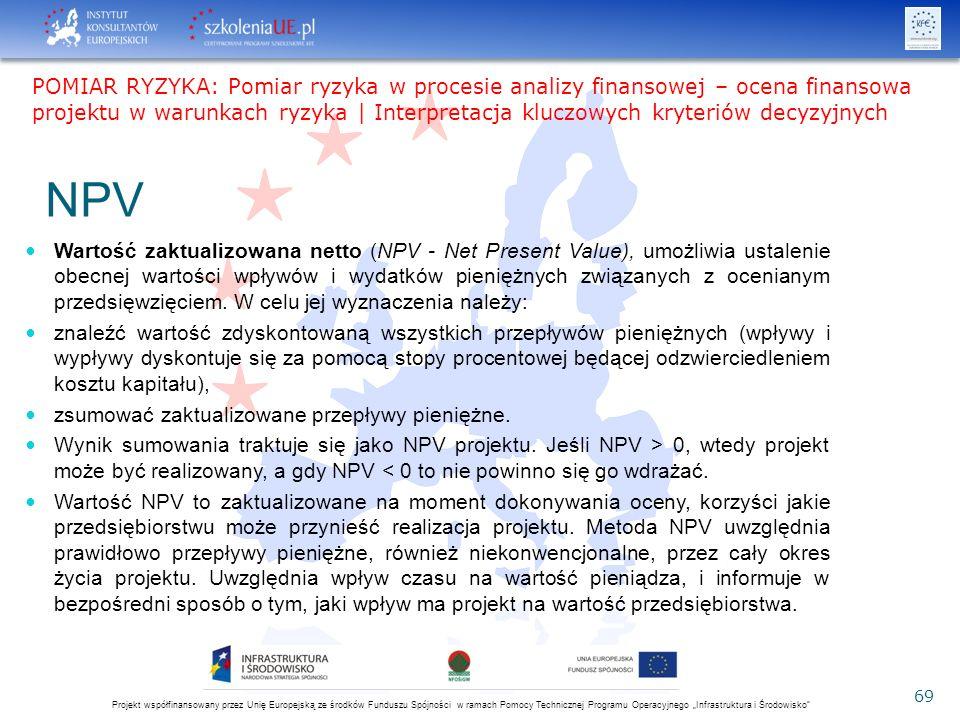 """Projekt współfinansowany przez Unię Europejską ze środków Funduszu Spójności w ramach Pomocy Technicznej Programu Operacyjnego """"Infrastruktura i Środowisko 69 NPV Wartość zaktualizowana netto (NPV - Net Present Value), umożliwia ustalenie obecnej wartości wpływów i wydatków pieniężnych związanych z ocenianym przedsięwzięciem."""