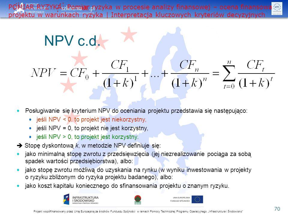 """Projekt współfinansowany przez Unię Europejską ze środków Funduszu Spójności w ramach Pomocy Technicznej Programu Operacyjnego """"Infrastruktura i Środowisko 70 NPV c.d."""
