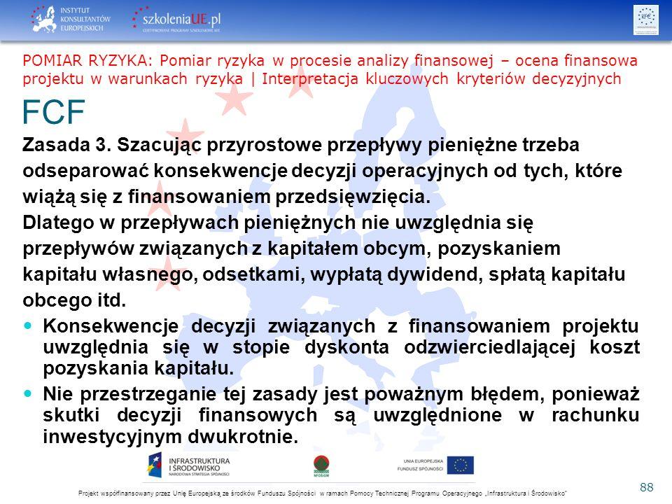 """Projekt współfinansowany przez Unię Europejską ze środków Funduszu Spójności w ramach Pomocy Technicznej Programu Operacyjnego """"Infrastruktura i Środowisko 88 FCF Zasada 3."""