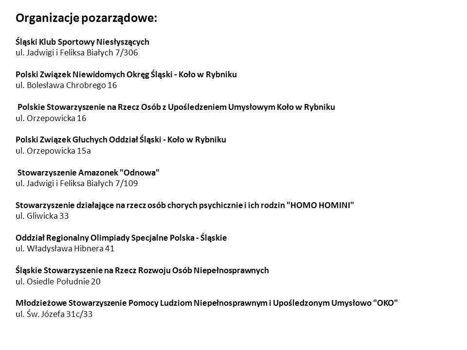 Organizacje pozarządowe: Śląski Klub Sportowy Niesłyszących ul.