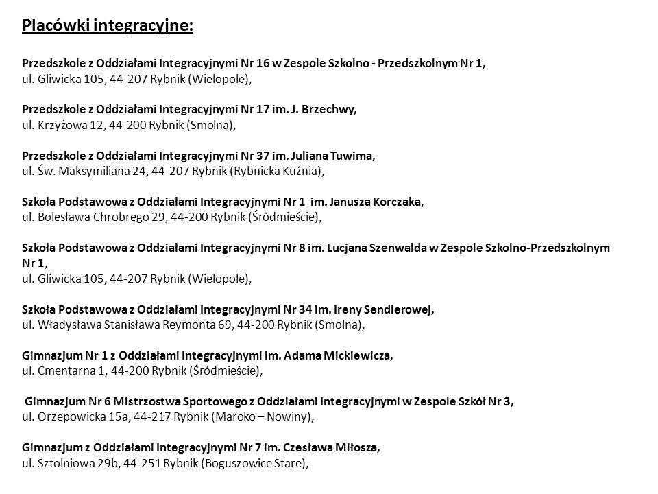 Placówki integracyjne: Przedszkole z Oddziałami Integracyjnymi Nr 16 w Zespole Szkolno - Przedszkolnym Nr 1, ul. Gliwicka 105, 44-207 Rybnik (Wielopol