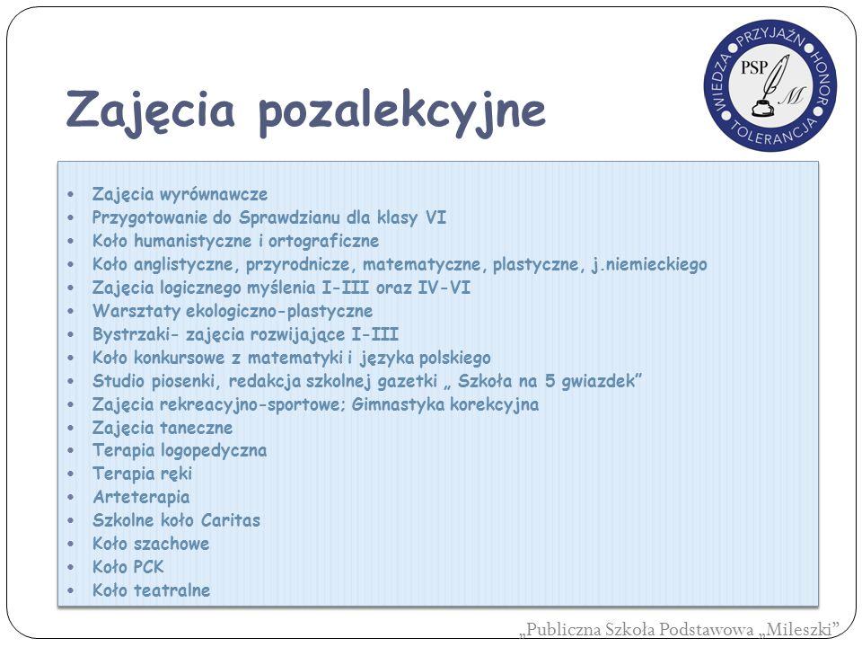 Zajęcia pozalekcyjne Zajęcia wyrównawcze Przygotowanie do Sprawdzianu dla klasy VI Koło humanistyczne i ortograficzne Koło anglistyczne, przyrodnicze,