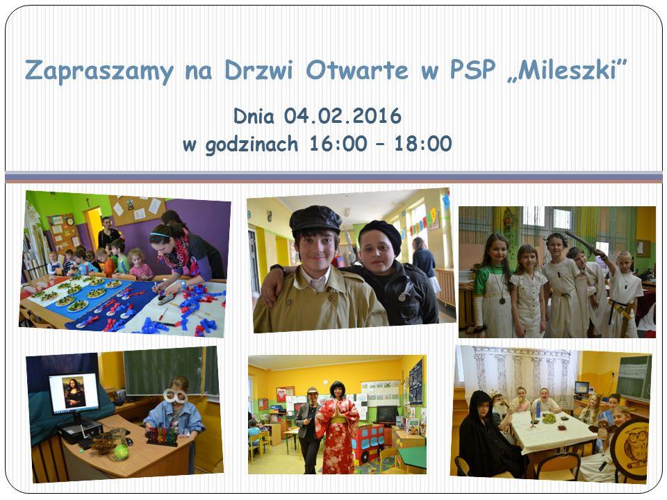 """Zapraszamy na Drzwi Otwarte w PSP """"Mileszki"""" Dnia 04.02.2016 w godzinach 16:00 – 18:00"""