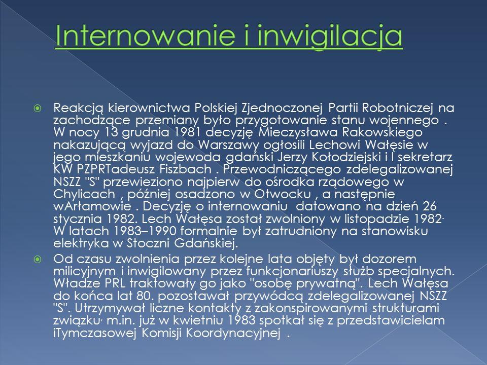  Reakcją kierownictwa Polskiej Zjednoczonej Partii Robotniczej na zachodzące przemiany było przygotowanie stanu wojennego.