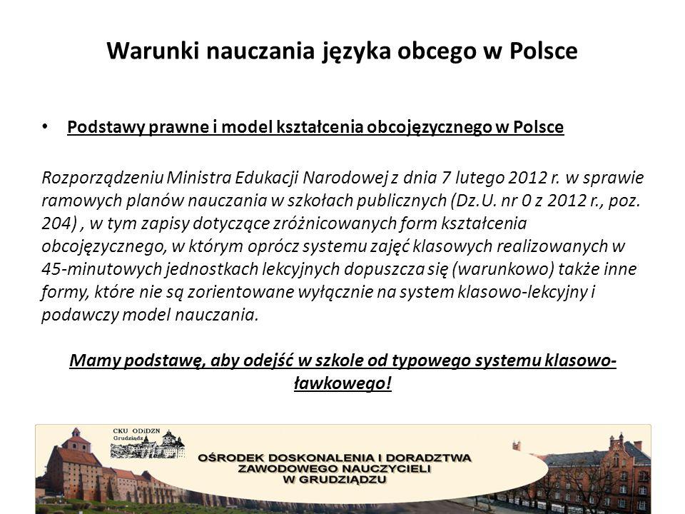 Warunki nauczania języka obcego w Polsce Podstawy prawne i model kształcenia obcojęzycznego w Polsce Rozporządzeniu Ministra Edukacji Narodowej z dnia 7 lutego 2012 r.