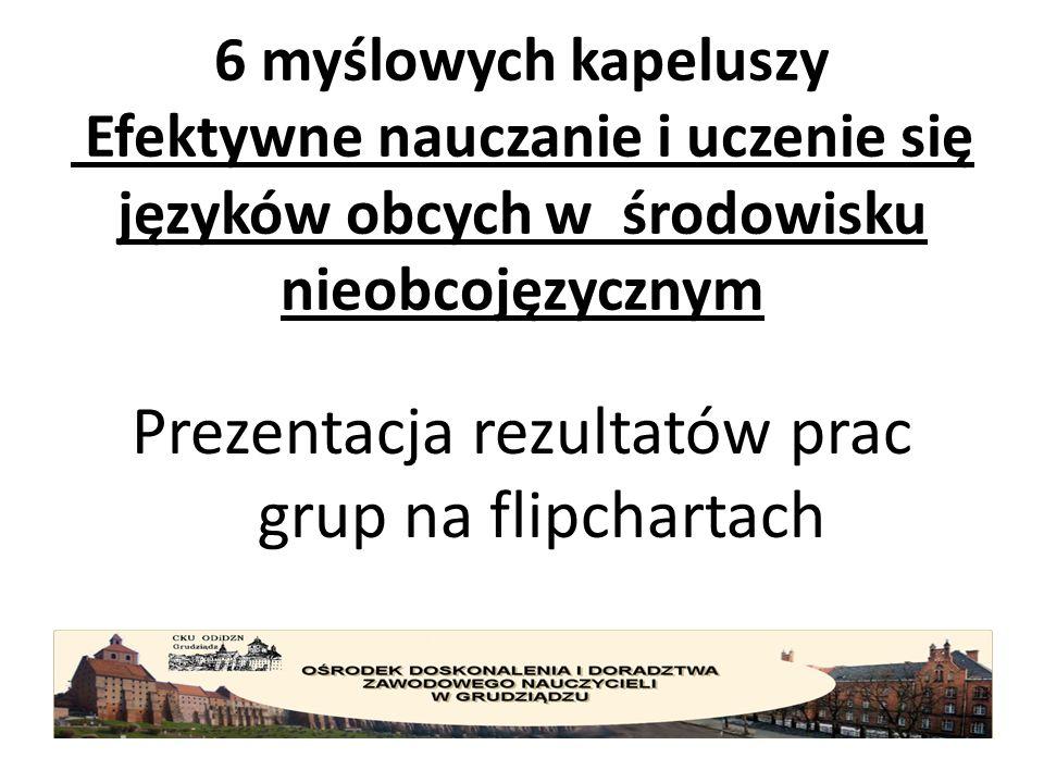 6 myślowych kapeluszy Efektywne nauczanie i uczenie się języków obcych w środowisku nieobcojęzycznym Prezentacja rezultatów prac grup na flipchartach