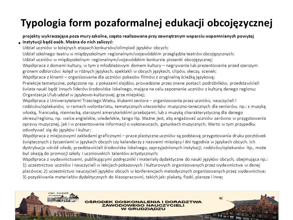 Typologia form pozaformalnej edukacji obcojęzycznej projekty wykraczające poza mury szkolne, często realizowane przy zewnętrznym wsparciu wspomnianych powyżej instytucji bądź osób.