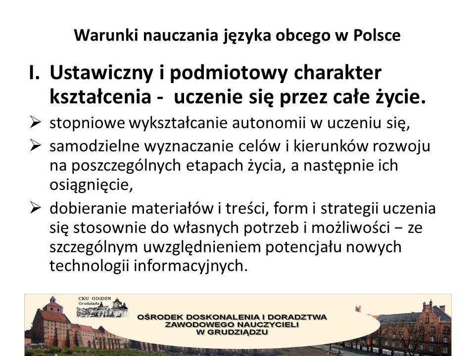 Warunki nauczania języka obcego w Polsce II.