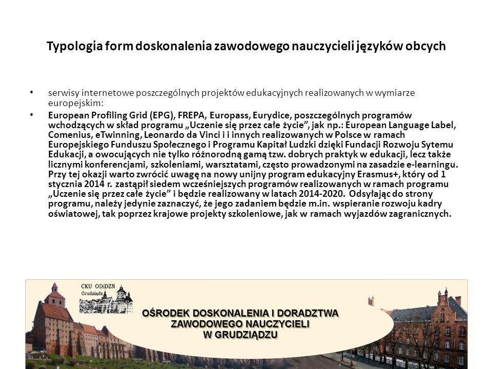 """Typologia form doskonalenia zawodowego nauczycieli języków obcych serwisy internetowe poszczególnych projektów edukacyjnych realizowanych w wymiarze europejskim: European Profiling Grid (EPG), FREPA, Europass, Eurydice, poszczególnych programów wchodzących w skład programu """"Uczenie się przez całe życie , jak np.: European Language Label, Comenius, eTwinning, Leonardo da Vinci i i innych realizowanych w Polsce w ramach Europejskiego Funduszu Społecznego i Programu Kapitał Ludzki dzięki Fundacji Rozwoju Sytemu Edukacji, a owocujących nie tylko różnorodną gamą tzw."""