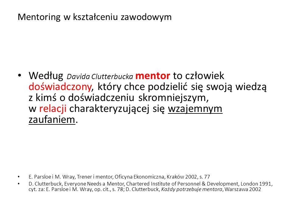 Mentoring w kształceniu zawodowym Według Davida Clutterbucka mentor to człowiek doświadczony, który chce podzielić się swoją wiedzą z kimś o doświadcz