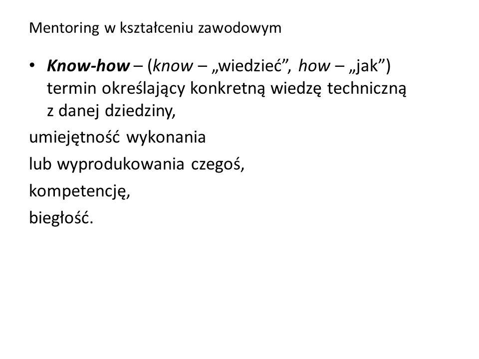 """Mentoring w kształceniu zawodowym Know-how – (know – """"wiedzieć"""", how – """"jak"""") termin określający konkretną wiedzę techniczną z danej dziedziny, umieję"""