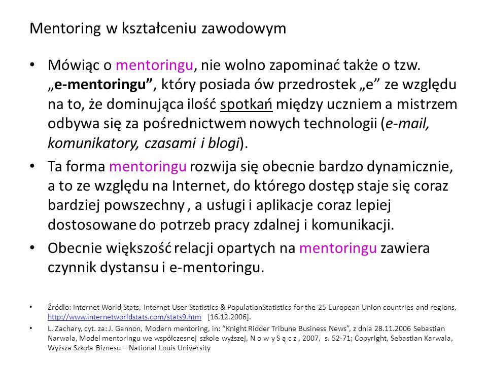 """Mentoring w kształceniu zawodowym Mówiąc o mentoringu, nie wolno zapominać także o tzw. """"e-mentoringu"""", który posiada ów przedrostek """"e"""" ze względu na"""