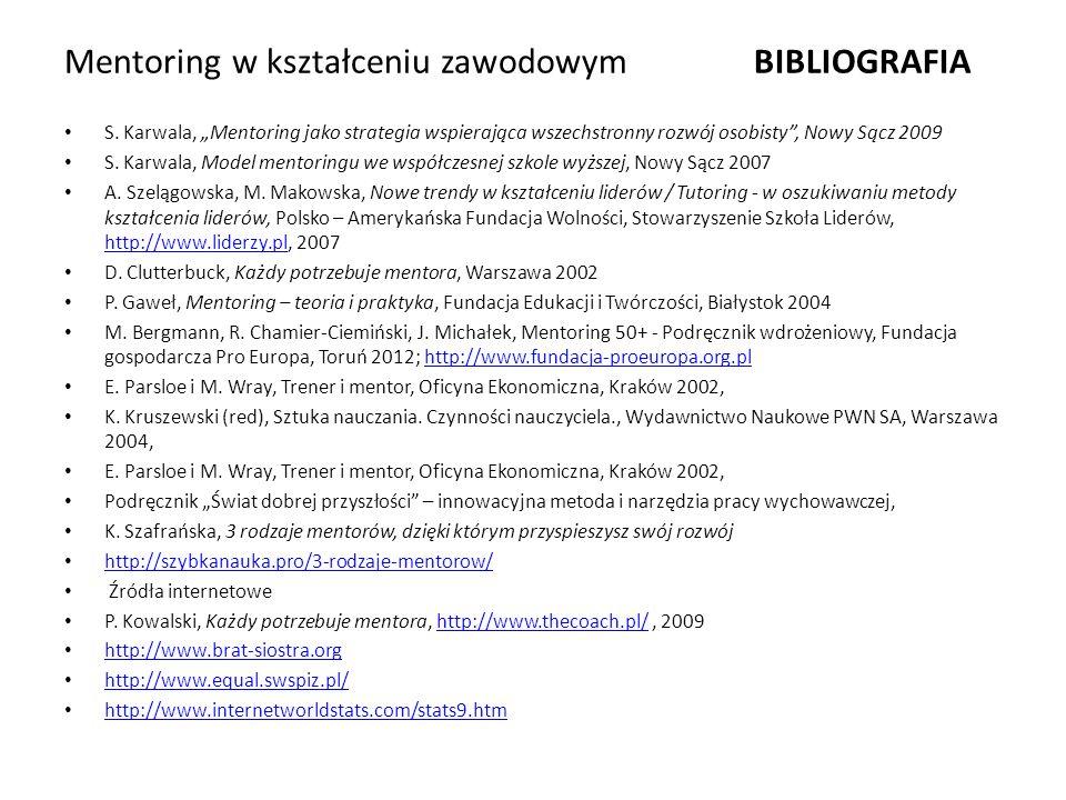 """Mentoring w kształceniu zawodowym BIBLIOGRAFIA S. Karwala, """"Mentoring jako strategia wspierająca wszechstronny rozwój osobisty"""", Nowy Sącz 2009 S. Kar"""