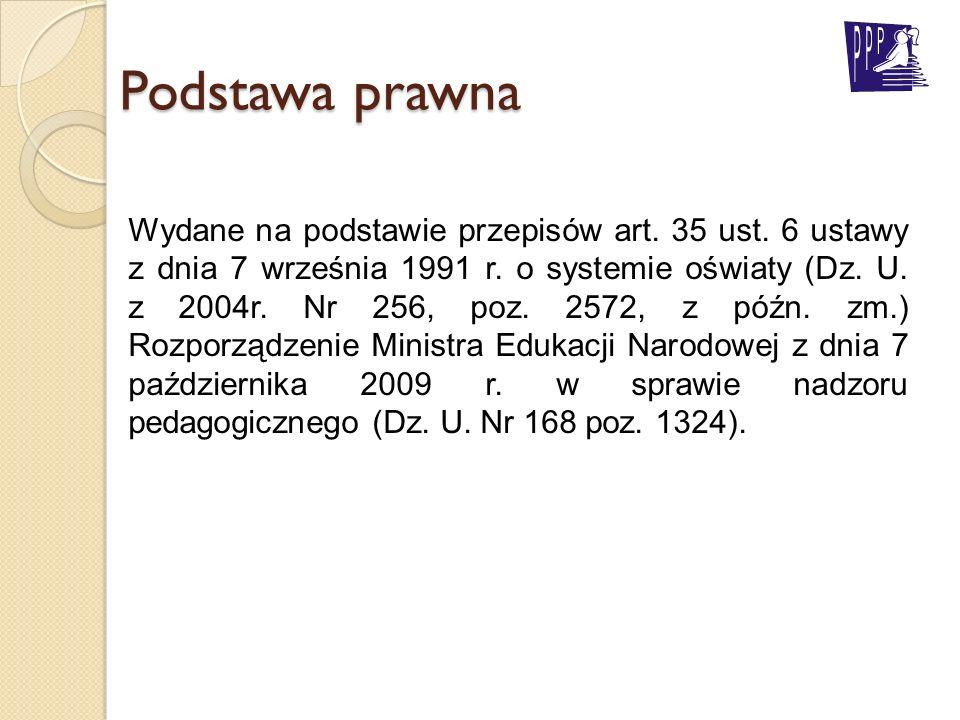 Podstawa prawna Wydane na podstawie przepisów art. 35 ust. 6 ustawy z dnia 7 września 1991 r. o systemie oświaty (Dz. U. z 2004r. Nr 256, poz. 2572, z