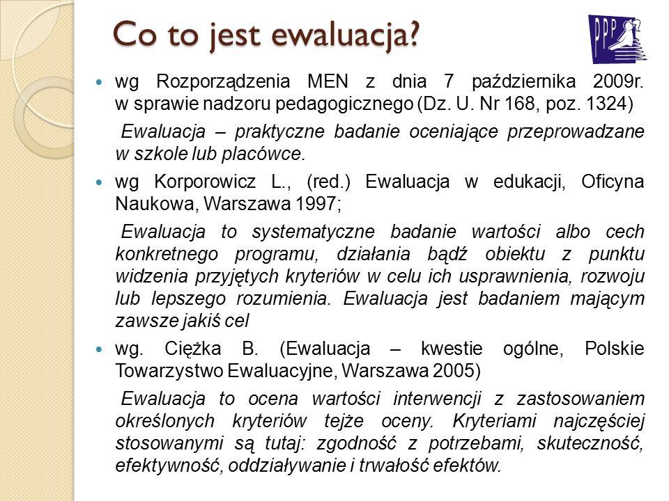 Co to jest ewaluacja? wg Rozporządzenia MEN z dnia 7 października 2009r. w sprawie nadzoru pedagogicznego (Dz. U. Nr 168, poz. 1324) Ewaluacja – prakt
