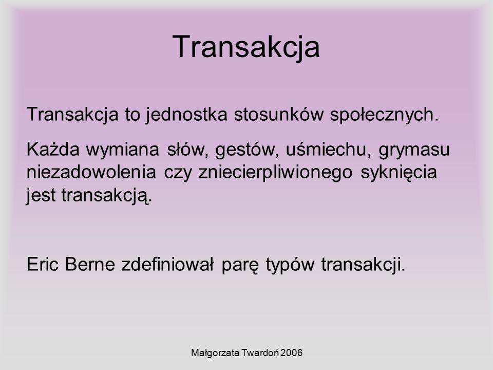Małgorzata Twardoń 2006 Transakcja Transakcja to jednostka stosunków społecznych. Każda wymiana słów, gestów, uśmiechu, grymasu niezadowolenia czy zni