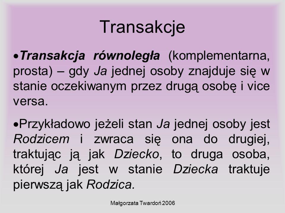 Małgorzata Twardoń 2006 Transakcje  Transakcja równoległa (komplementarna, prosta) – gdy Ja jednej osoby znajduje się w stanie oczekiwanym przez drug