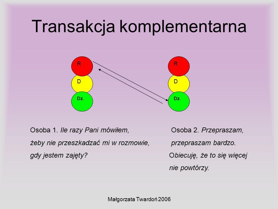 Małgorzata Twardoń 2006 Transakcja komplementarna D Dz. R D R Osoba 1. Ile razy Pani mówiłem, Osoba 2. Przepraszam, żeby nie przeszkadzać mi w rozmowi