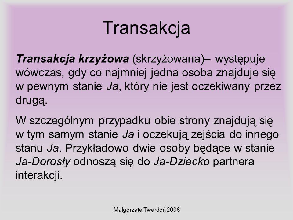 Małgorzata Twardoń 2006 Transakcja Transakcja krzyżowa (skrzyżowana)– występuje wówczas, gdy co najmniej jedna osoba znajduje się w pewnym stanie Ja,