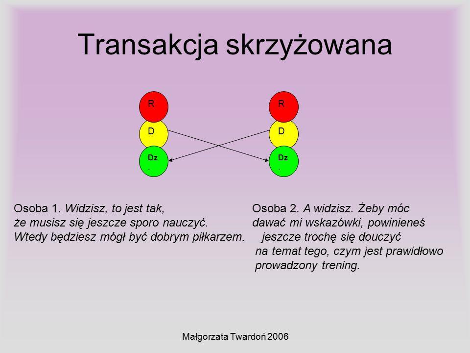 Małgorzata Twardoń 2006 Transakcja skrzyżowana D Dz. R D R Osoba 1. Widzisz, to jest tak, Osoba 2. A widzisz. Żeby móc że musisz się jeszcze sporo nau