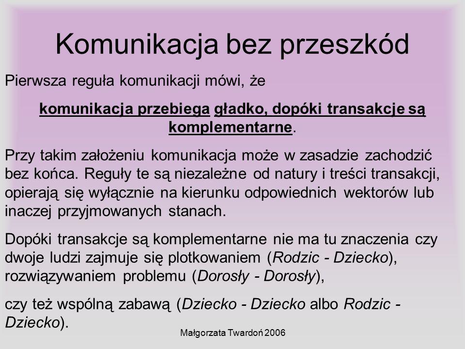 Małgorzata Twardoń 2006 Komunikacja bez przeszkód Pierwsza reguła komunikacji mówi, że komunikacja przebiega gładko, dopóki transakcje są komplementar