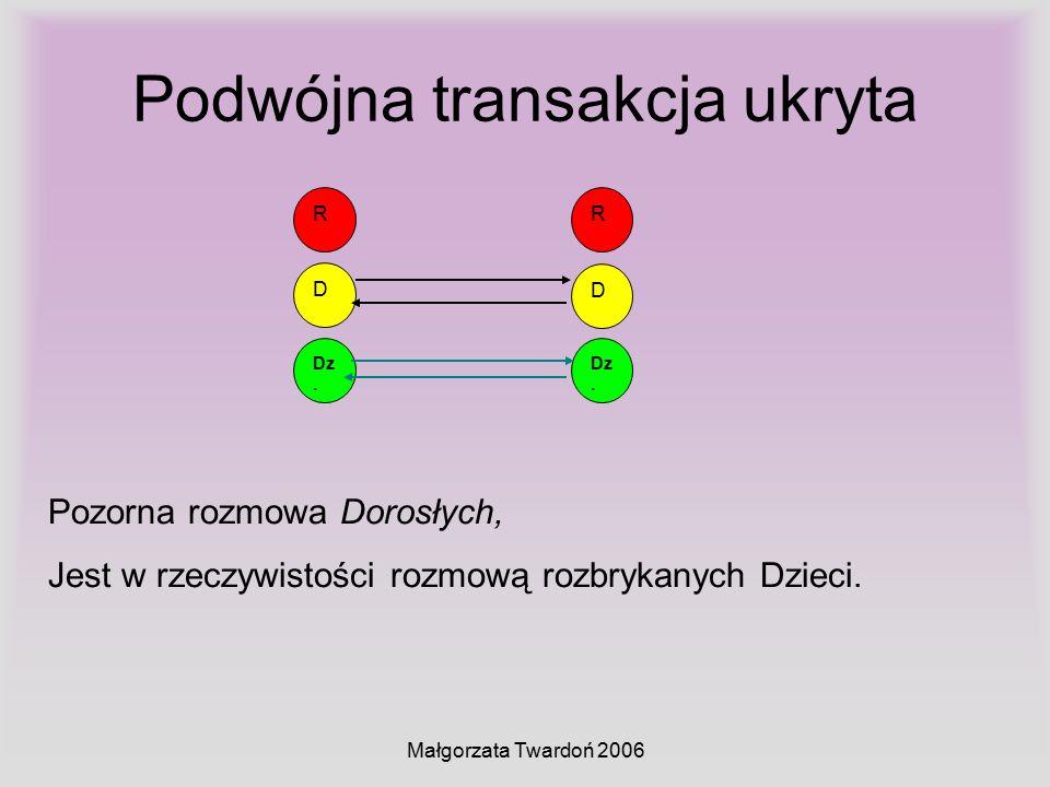 Małgorzata Twardoń 2006 Podwójna transakcja ukryta D Dz. R D R Pozorna rozmowa Dorosłych, Jest w rzeczywistości rozmową rozbrykanych Dzieci.