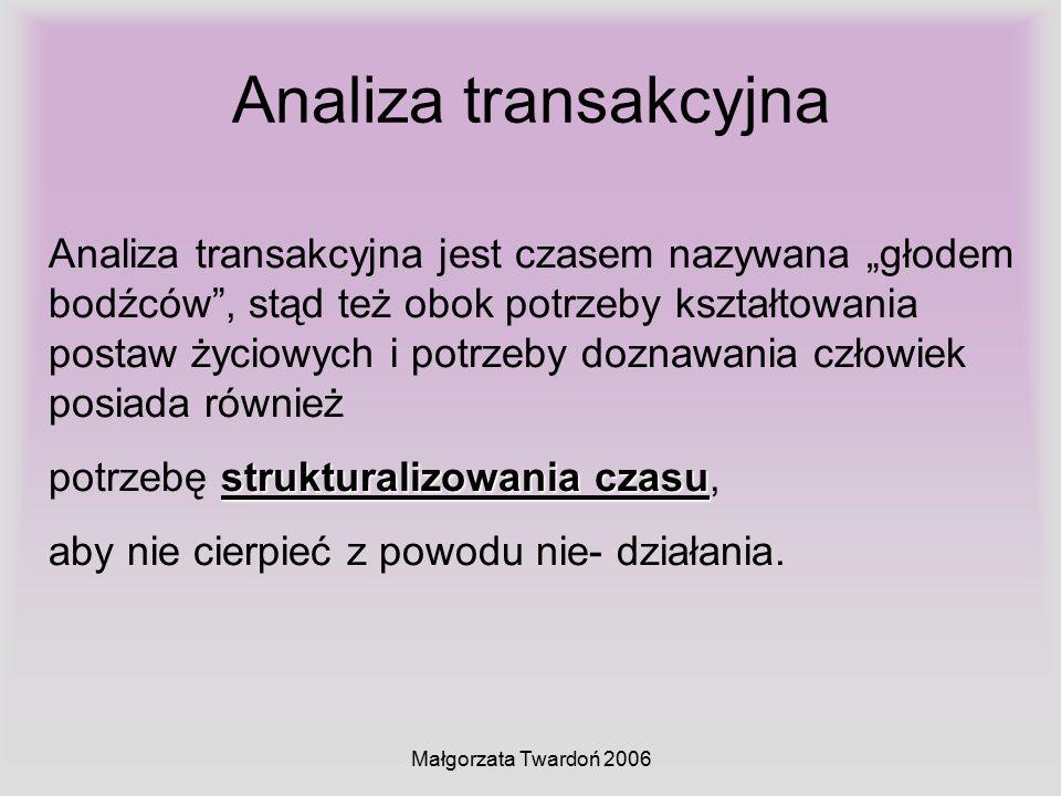 """Małgorzata Twardoń 2006 Analiza transakcyjna Analiza transakcyjna jest czasem nazywana """"głodem bodźców"""", stąd też obok potrzeby kształtowania postaw ż"""
