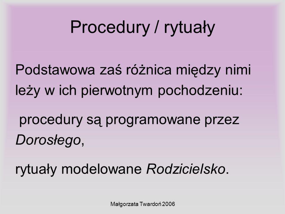 Małgorzata Twardoń 2006 Procedury / rytuały Podstawowa zaś różnica między nimi leży w ich pierwotnym pochodzeniu: procedury są programowane przez Doro