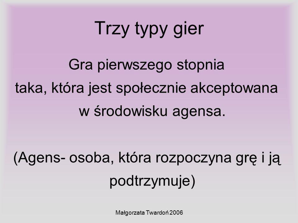 Małgorzata Twardoń 2006 Trzy typy gier Gra pierwszego stopnia taka, która jest społecznie akceptowana w środowisku agensa. (Agens- osoba, która rozpoc