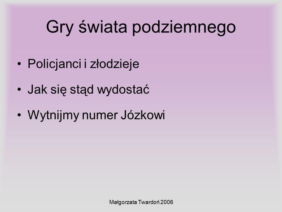 Małgorzata Twardoń 2006 Gry świata podziemnego Policjanci i złodzieje Jak się stąd wydostać Wytnijmy numer Józkowi