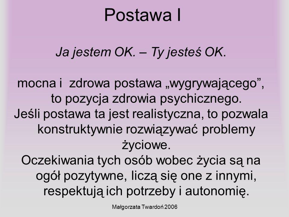 """Małgorzata Twardoń 2006 Postawa I Ja jestem OK. – Ty jesteś OK. mocna i zdrowa postawa """"wygrywającego"""", to pozycja zdrowia psychicznego. Jeśli postawa"""